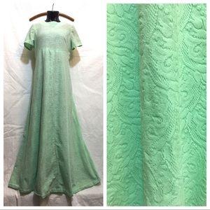 Vintage Lace Prom Dress 70s Mint Green Pistachio